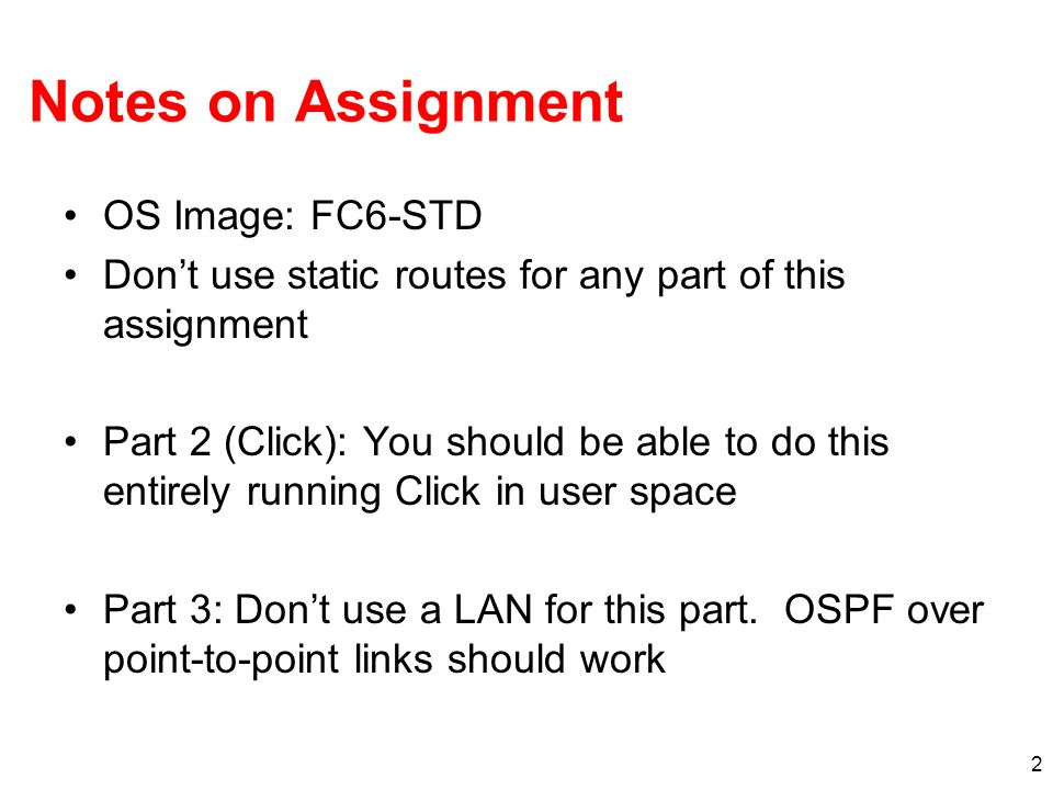 Notes on Assignment OS Image: FC6-STD