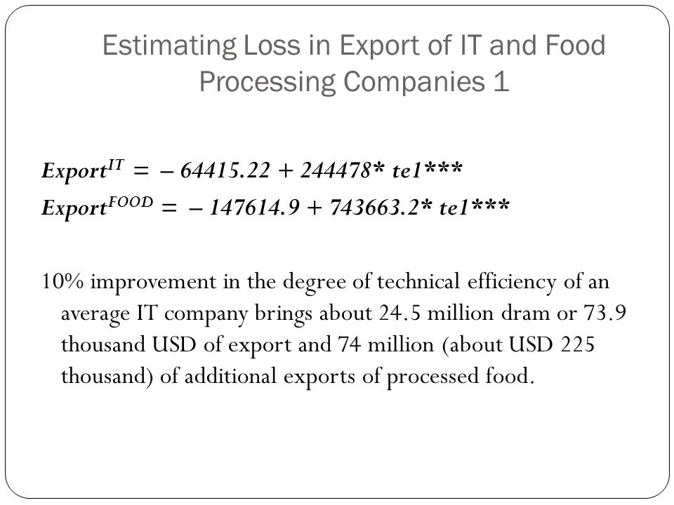 Estimating Loss in Export of IT and Food Processing Companies 1
