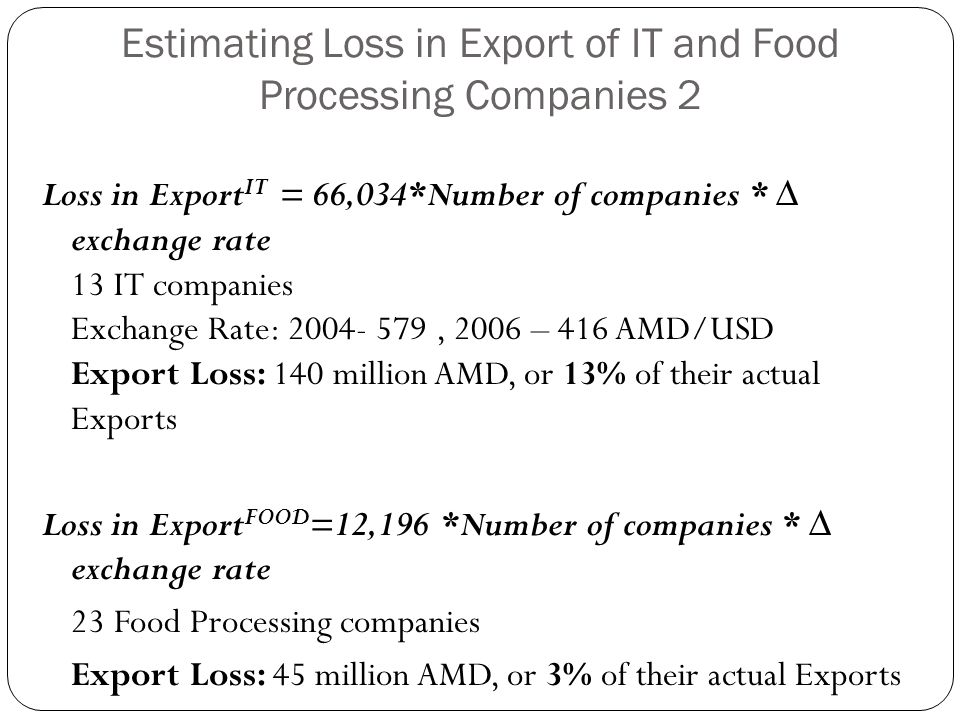 Estimating Loss in Export of IT and Food Processing Companies 2