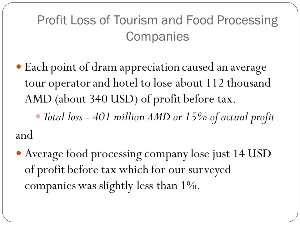 Profit Loss of Tourism and Food Processing Companies