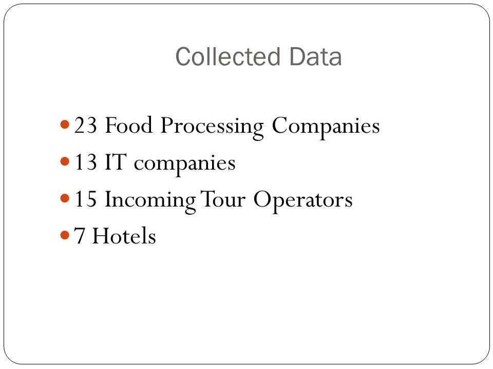 23 Food Processing Companies 13 IT companies
