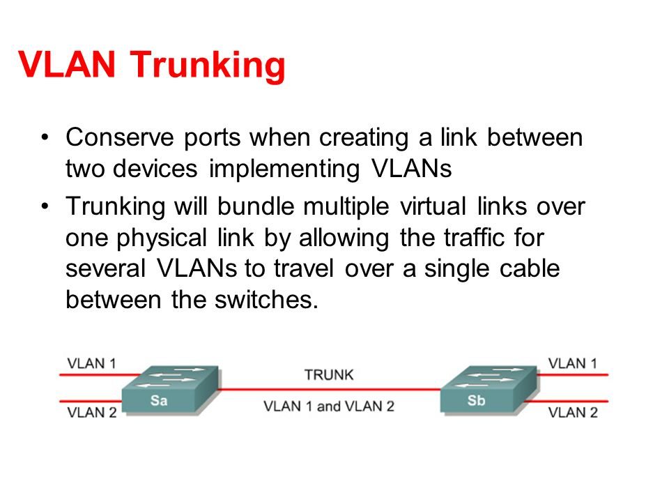VLAN Trunking Conserve ports when creating a link between two devices implementing VLANs.