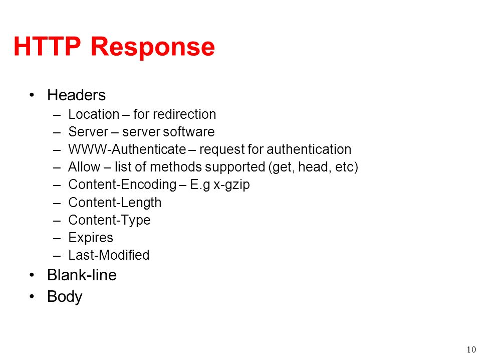 HTTP Response Headers Blank-line Body Location – for redirection