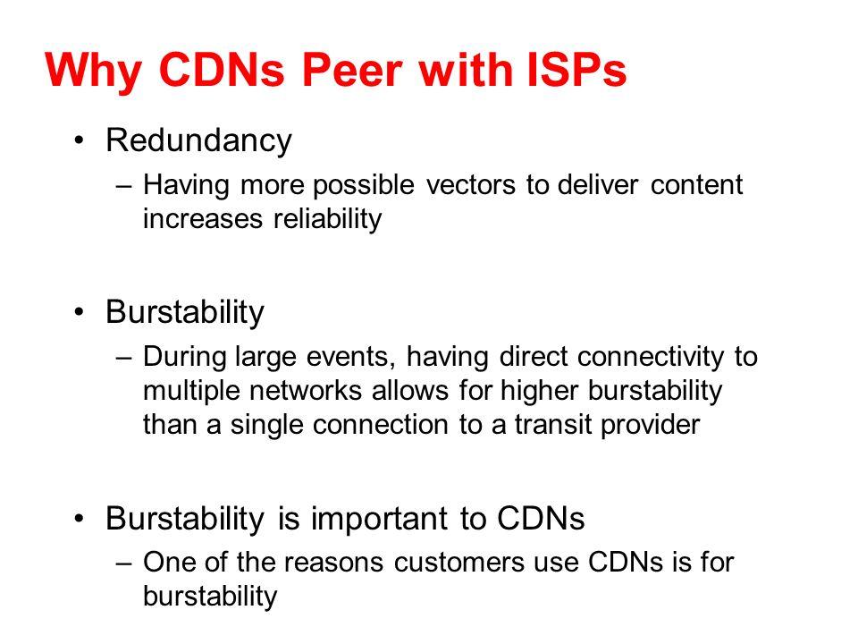 Why CDNs Peer with ISPs Redundancy Burstability