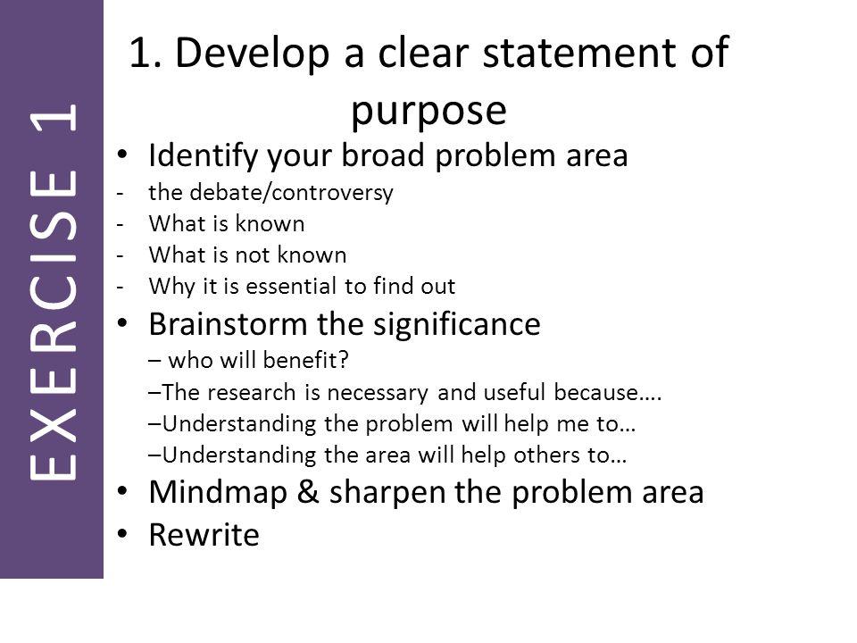 developing purpose statement dissertation