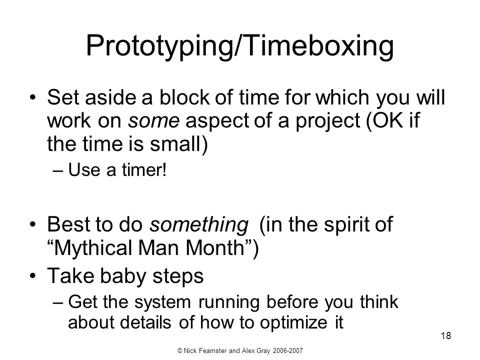 Prototyping/Timeboxing