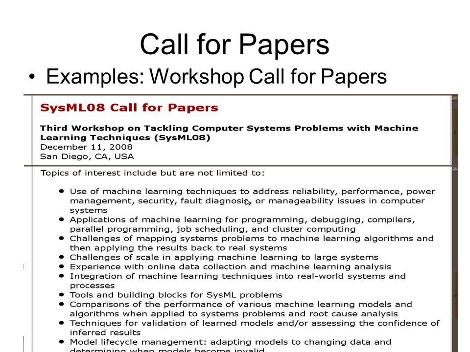 Call for Papers Examples: Workshop Call for Papers