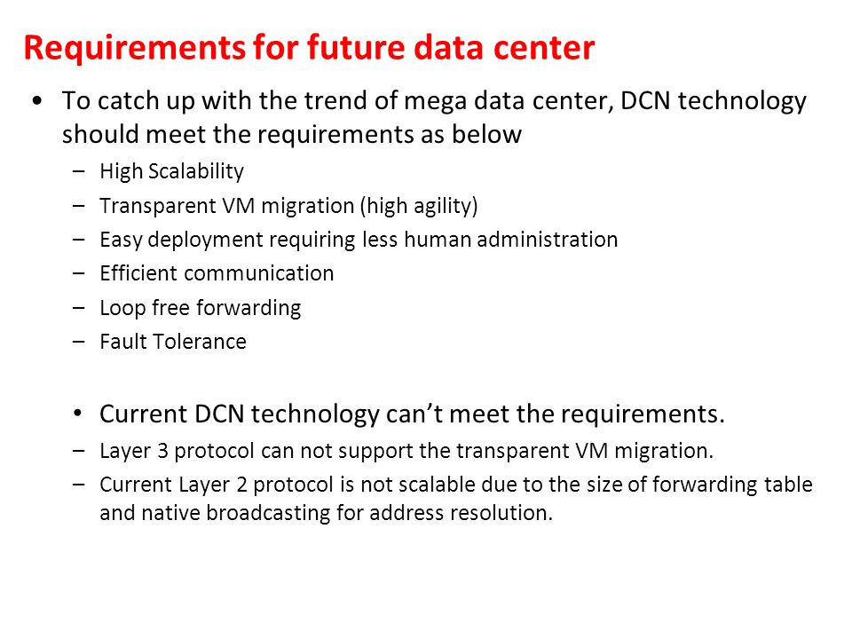 Requirements for future data center