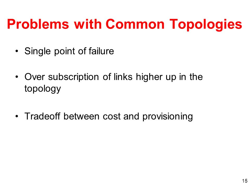 Problems with Common Topologies