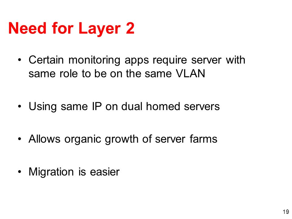 Need for Layer 2 Certain monitoring apps require server with same role to be on the same VLAN. Using same IP on dual homed servers.