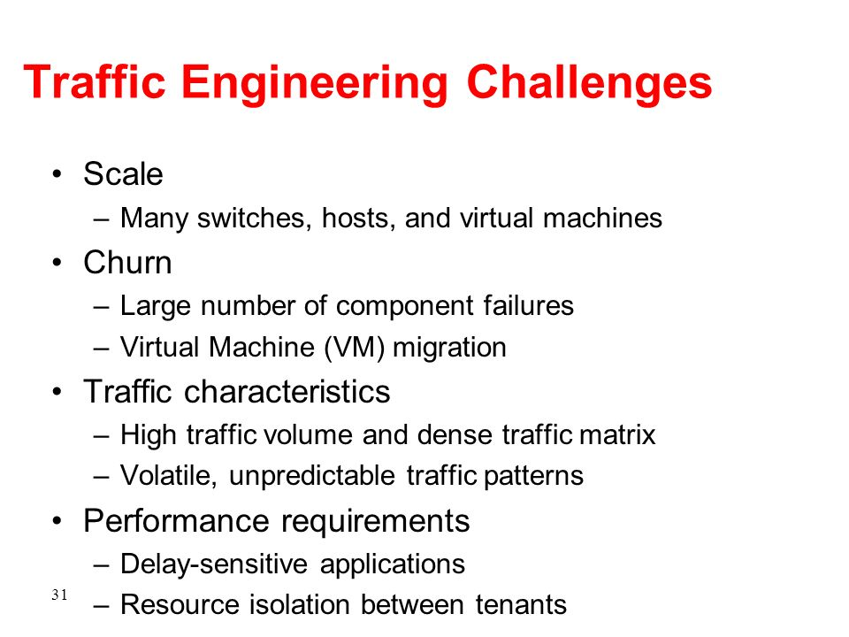 Traffic Engineering Challenges