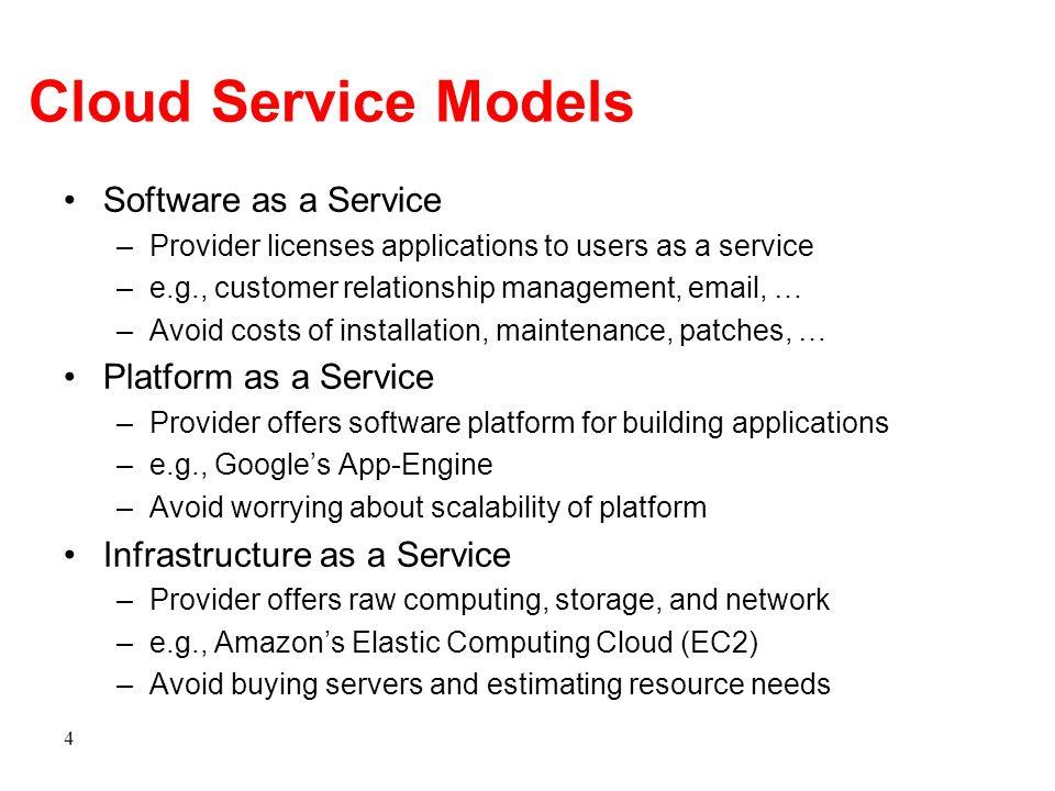 Cloud Service Models Software as a Service Platform as a Service