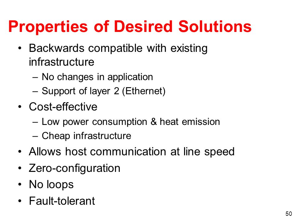 Properties of Desired Solutions