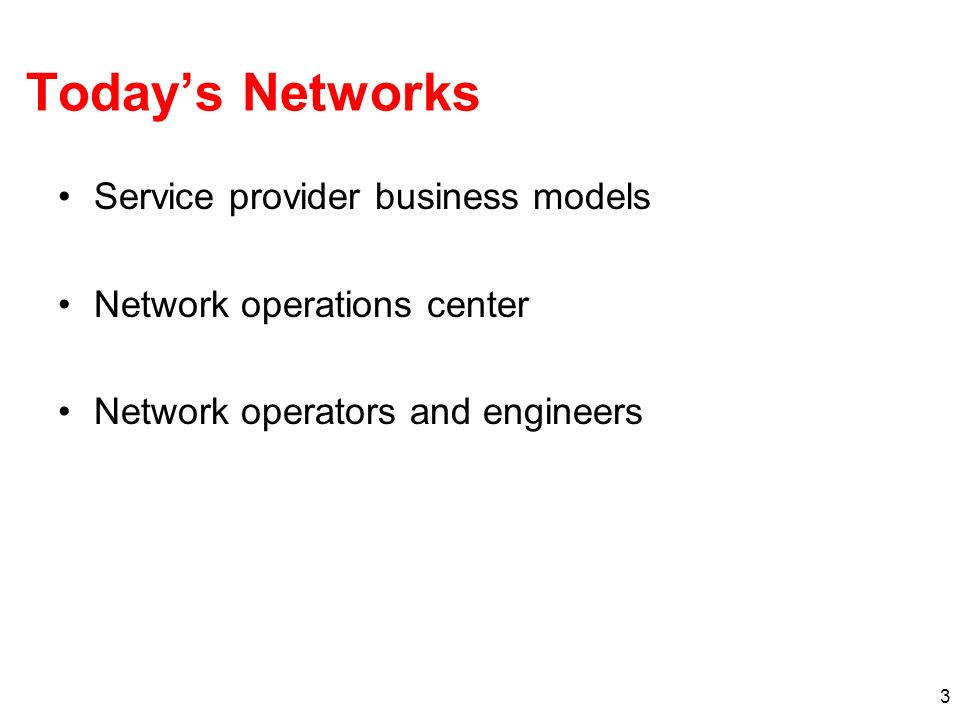 Today's Networks Service provider business models