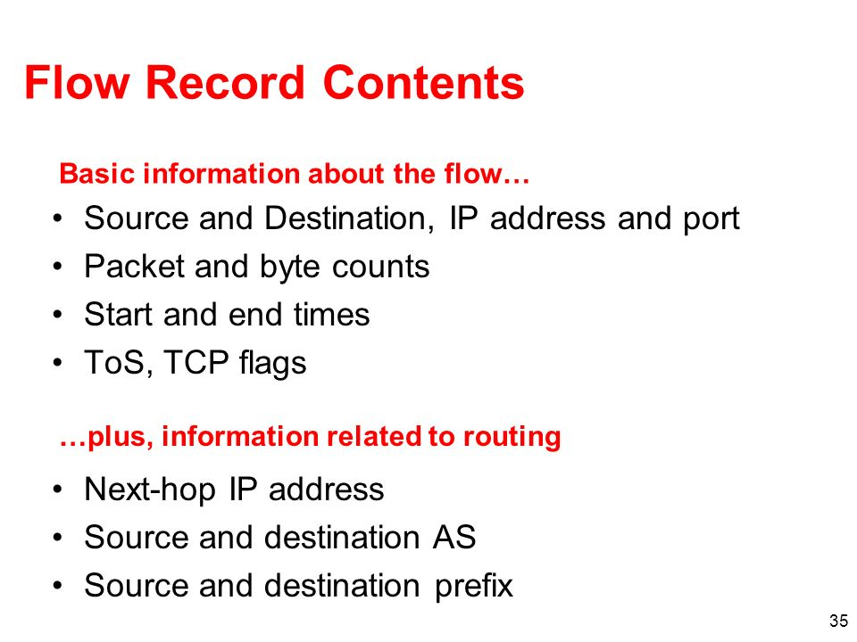 Flow Record Contents Source and Destination, IP address and port