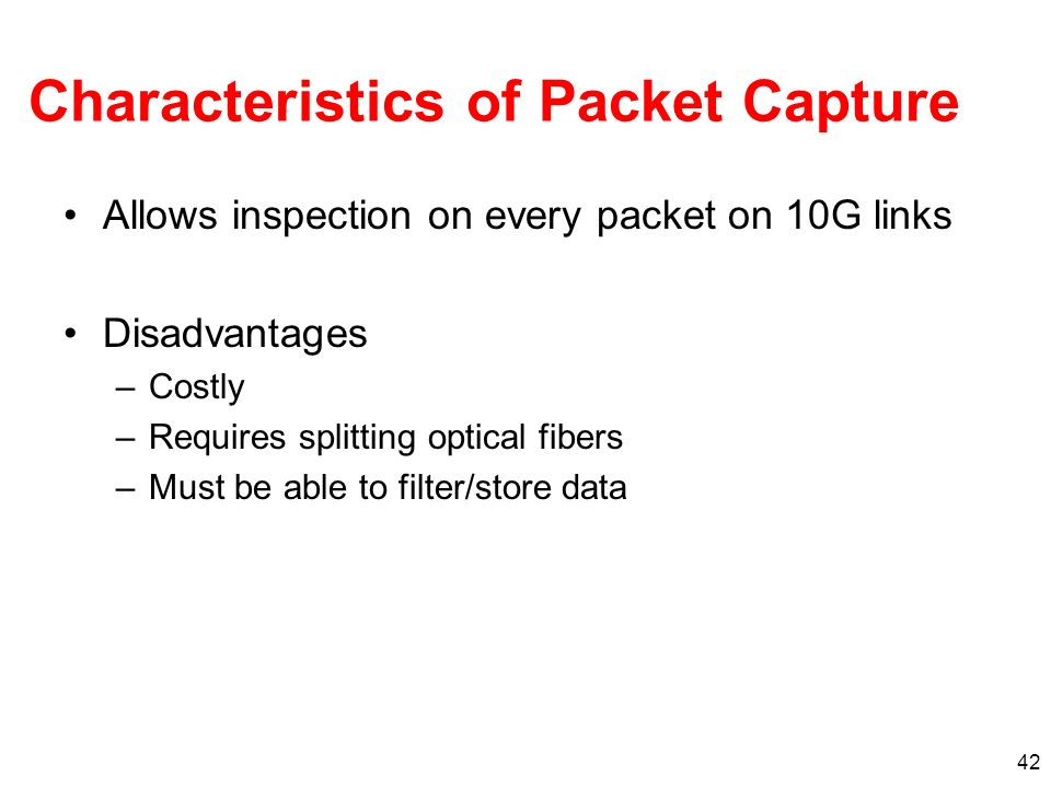 Characteristics of Packet Capture
