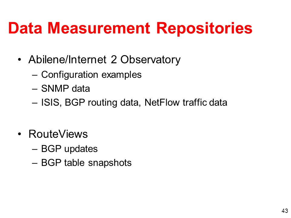 Data Measurement Repositories