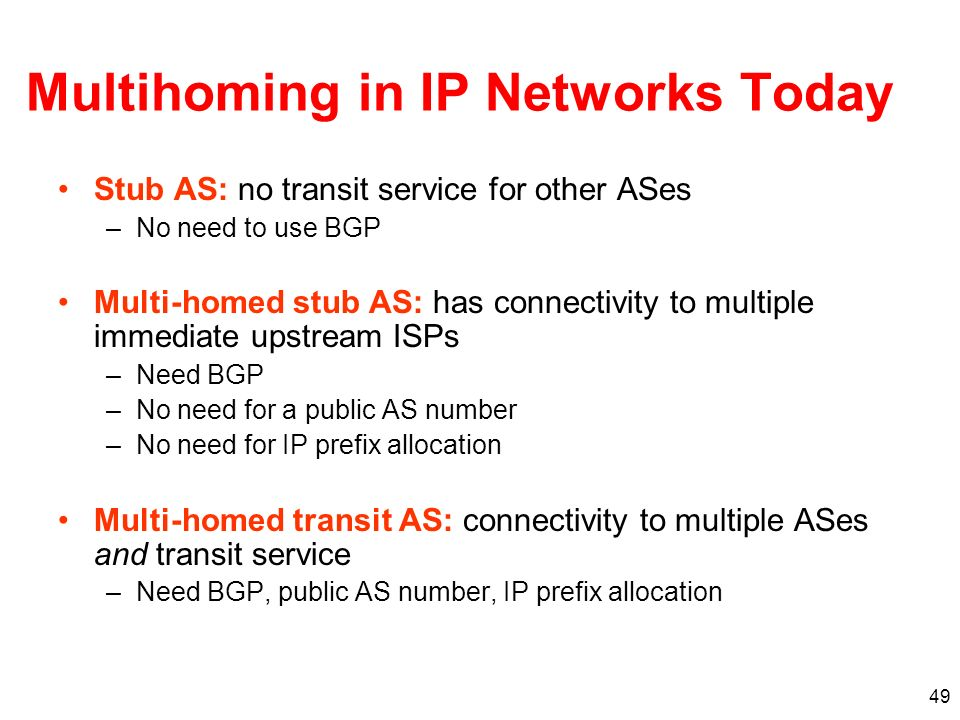 Multihoming in IP Networks Today