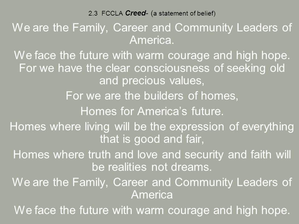 Unit 2 Family, Career and Community Leaders of America - ppt download