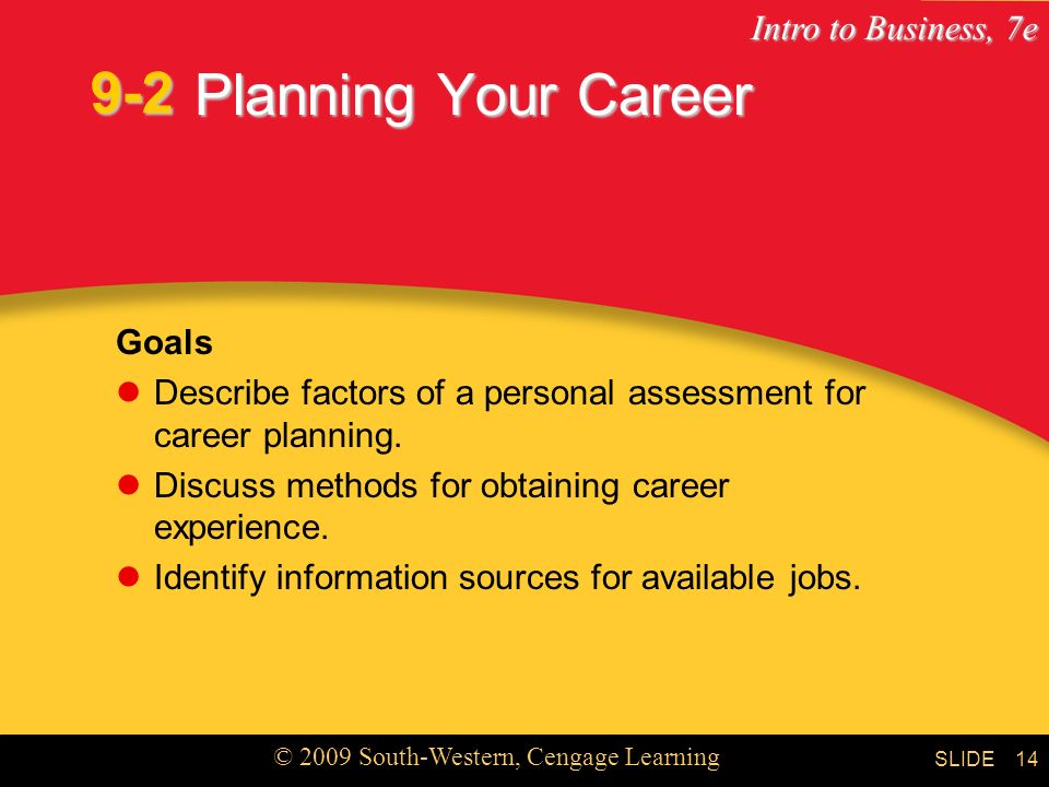 9-2 Planning Your Career Goals