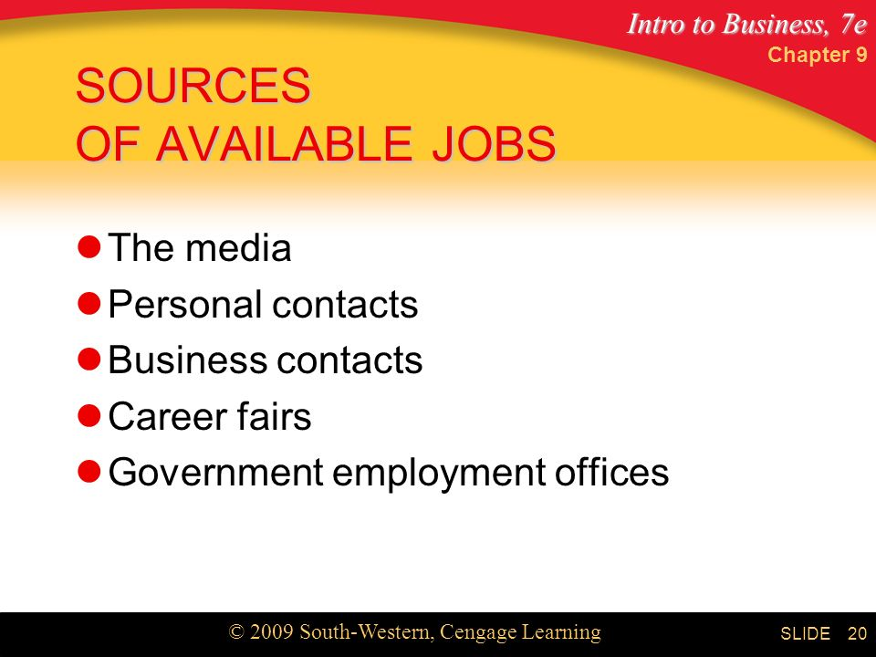 SOURCES OF AVAILABLE JOBS