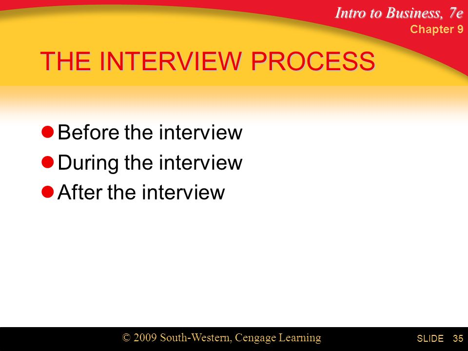 THE INTERVIEW PROCESS Before the interview During the interview