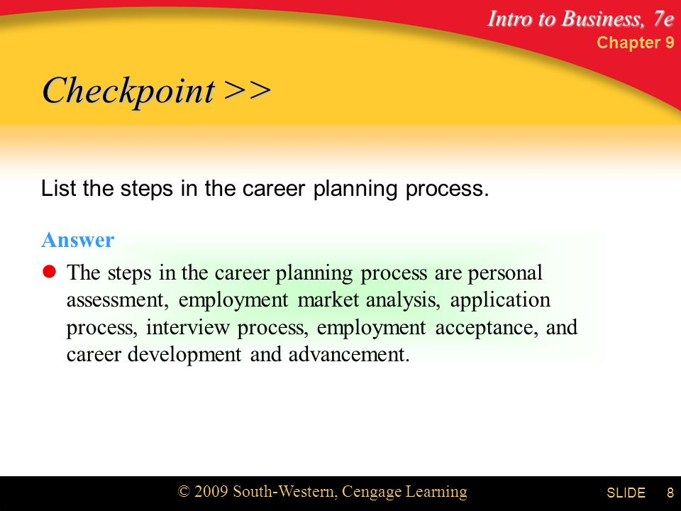 Checkpoint >> List the steps in the career planning process.