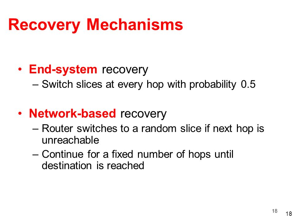 Recovery Mechanisms End-system recovery Network-based recovery