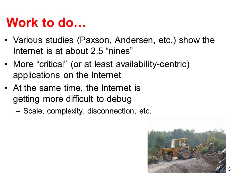 Work to do… Various studies (Paxson, Andersen, etc.) show the Internet is at about 2.5 nines