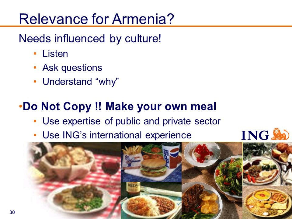 Relevance for Armenia Needs influenced by culture!