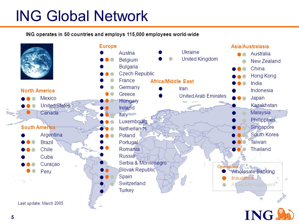 ING Global Network ING operates in 50 countries and employs 115,000 employees world-wide. Europe. Austria.