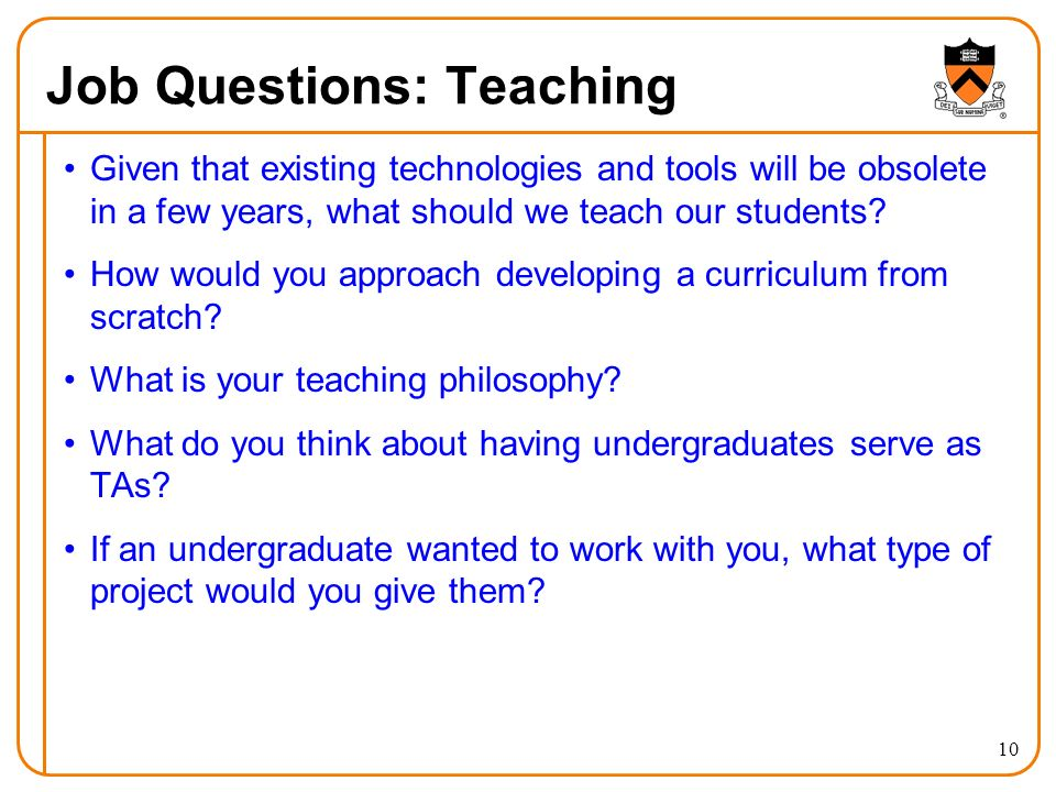 Job Questions: Teaching