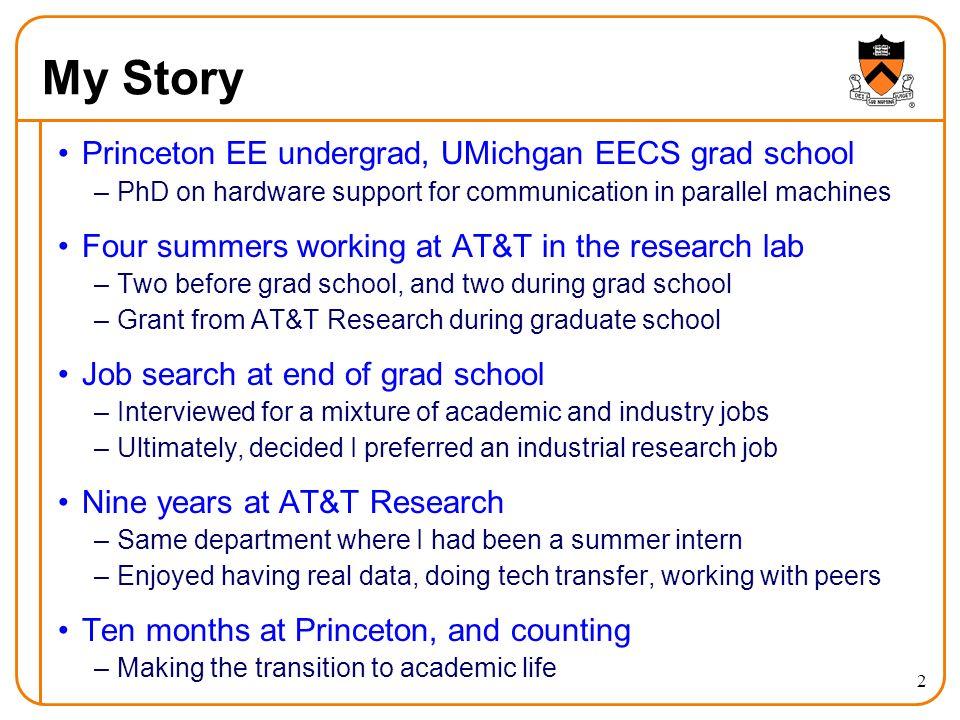 My Story Princeton EE undergrad, UMichgan EECS grad school
