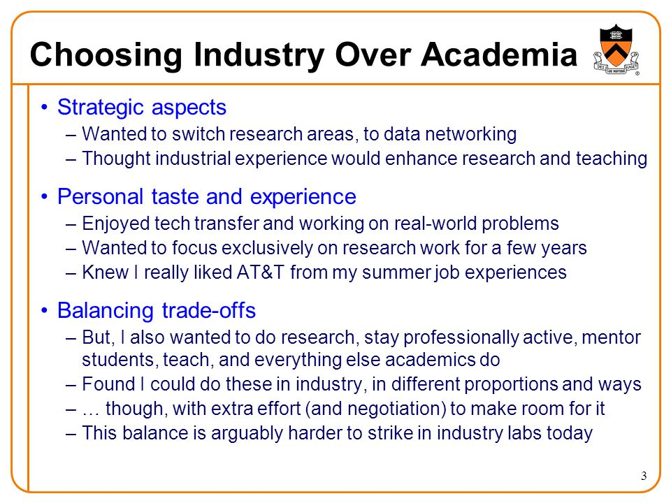 Choosing Industry Over Academia