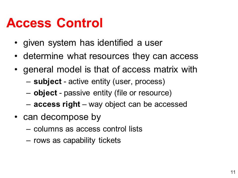 Access Control given system has identified a user