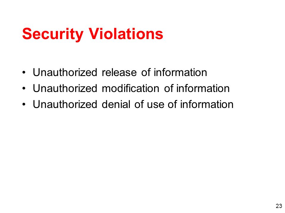 Security Violations Unauthorized release of information