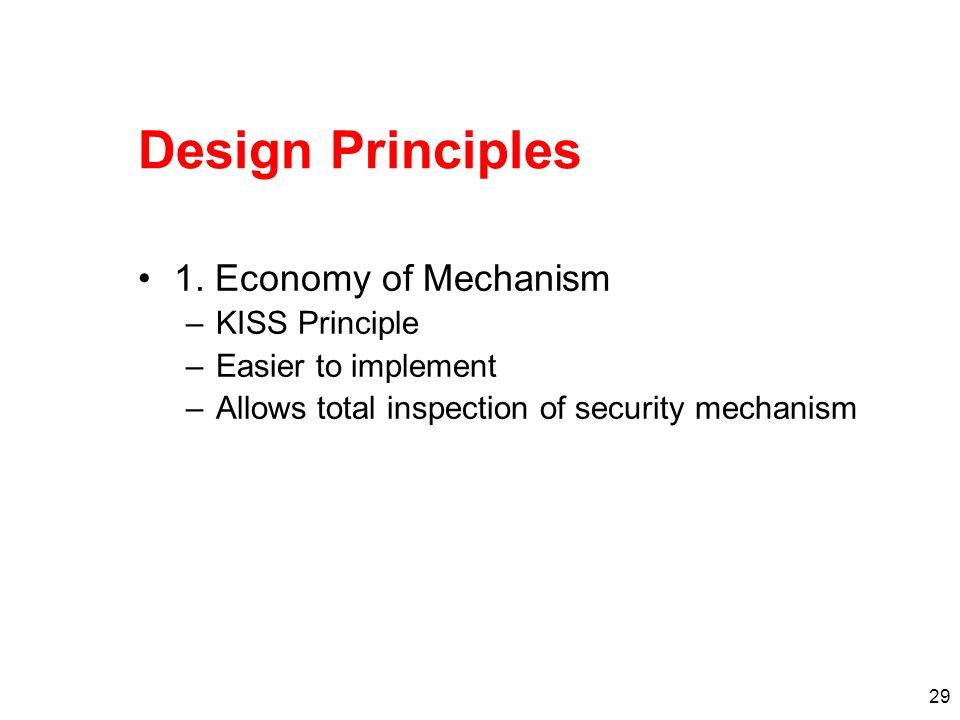 Design Principles 1. Economy of Mechanism KISS Principle