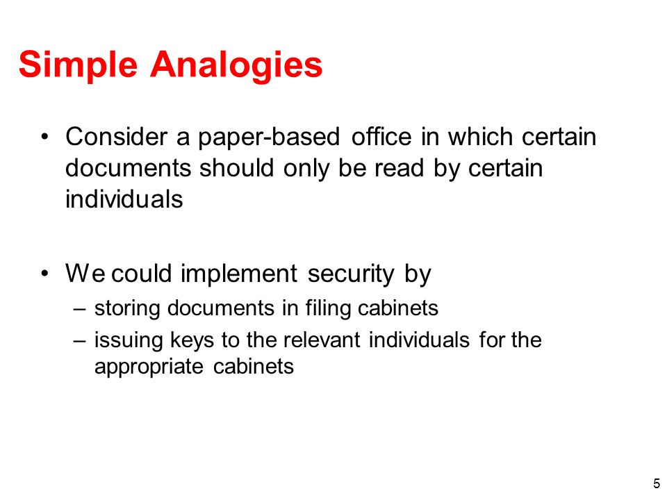 Simple Analogies Consider a paper-based office in which certain documents should only be read by certain individuals.