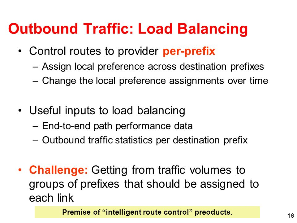 Outbound Traffic: Load Balancing