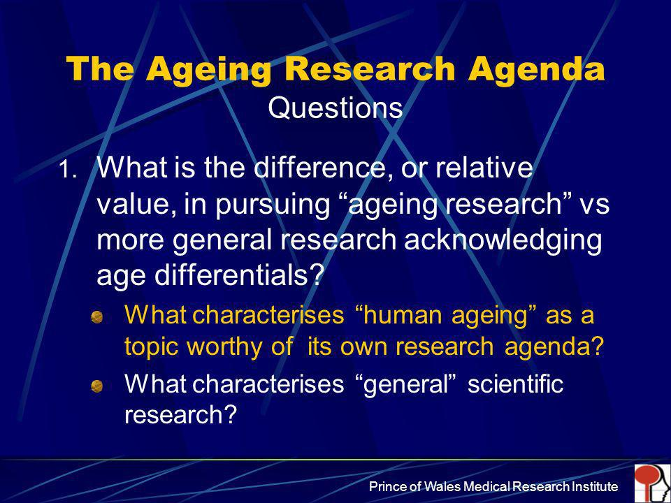 The Ageing Research Agenda Questions