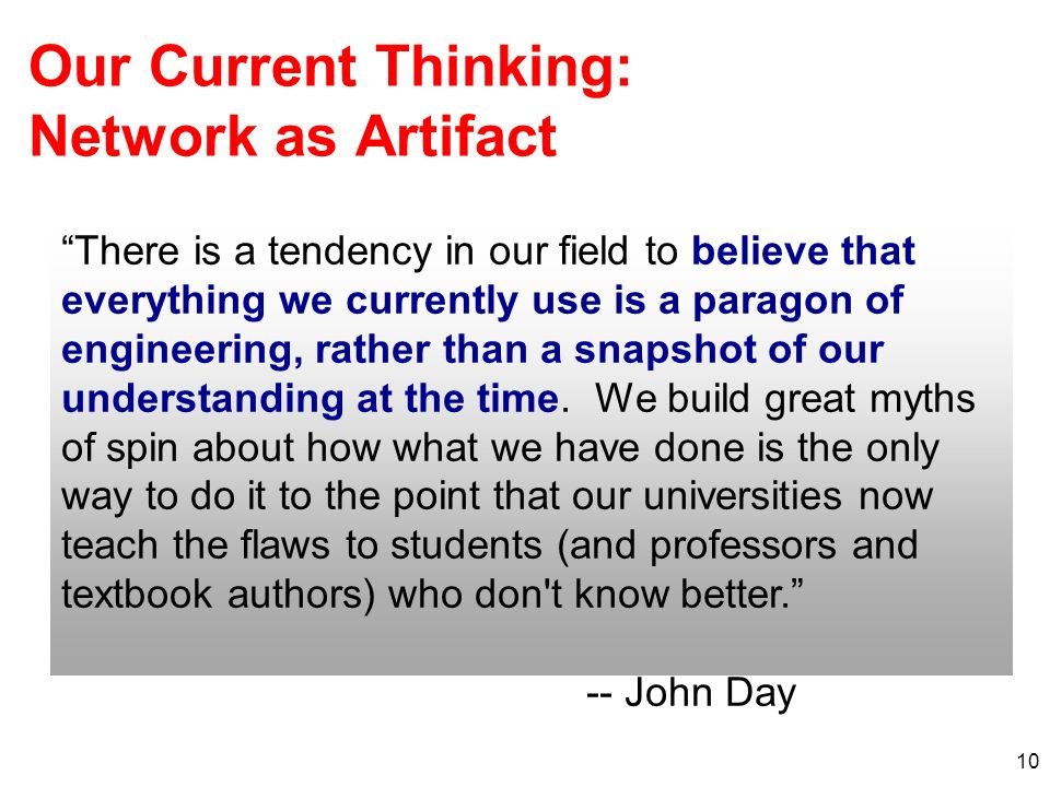 Our Current Thinking: Network as Artifact