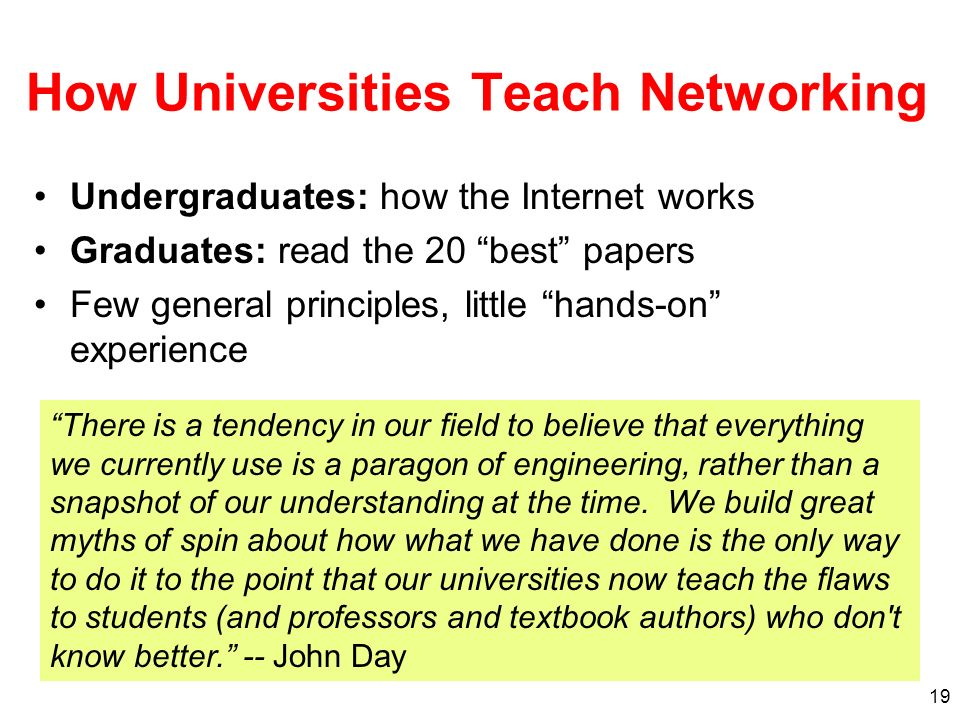 How Universities Teach Networking