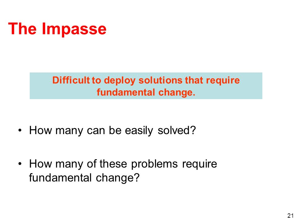 Difficult to deploy solutions that require fundamental change.