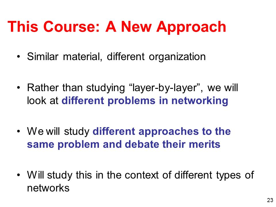 This Course: A New Approach