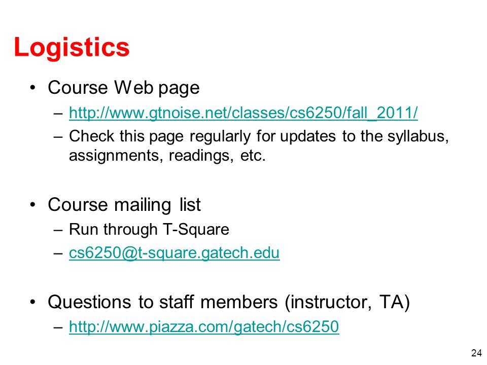 Logistics Course Web page Course mailing list
