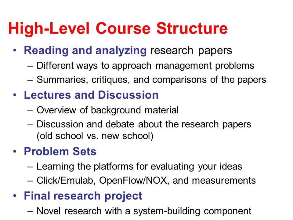 High-Level Course Structure
