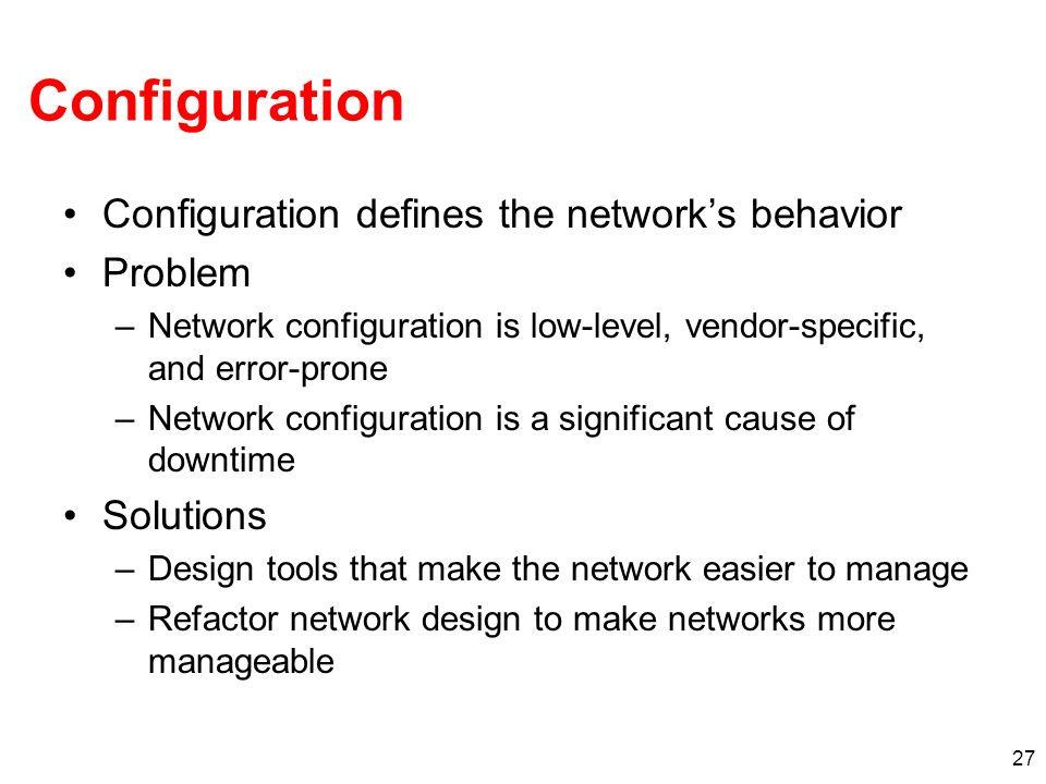 Configuration Configuration defines the network's behavior Problem