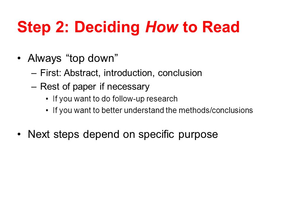 Step 2: Deciding How to Read