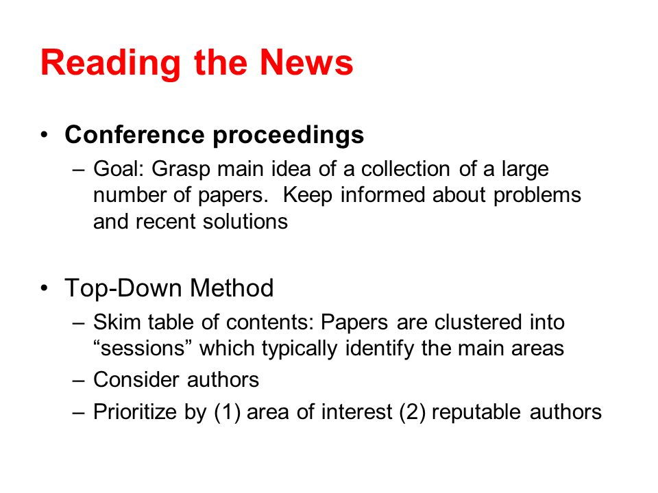 Reading the News Conference proceedings Top-Down Method