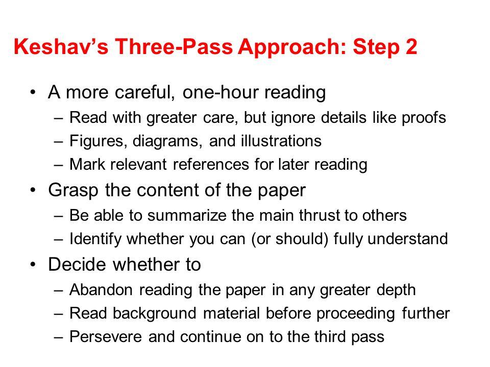 Keshav's Three-Pass Approach: Step 2